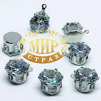Подвеска в серебряной оправе, 10мм, цвет Crystal Zircon, 1 шт
