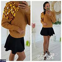 Стильный женский свитер с отделкой на плече. Арт-12334