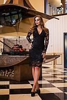 Кружевное женское черное платье с длинным рукавом