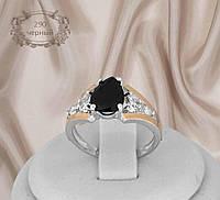 """Серебряное кольцо с золотыми накладками """"290 черный"""", фото 1"""