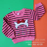 Розовый батник в полоску для девочки Кошечка размер 2,3,4 лет