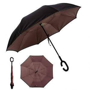 Ветрозащитный зонт обратного сложения д 110см 8сп  Brown