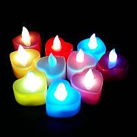 Светодиодная свеча сердце ( свечение с имитацией) 24 шт