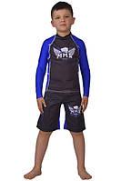 Компрессионный рашгард и шорты (с резинкой) ММА Berserk детские blue