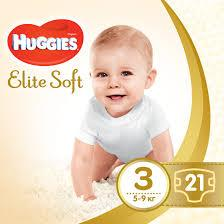 Подгузники Huggies Elite Soft (Хаггис Элит Софт)  3 (5-9 кг), 21 шт.