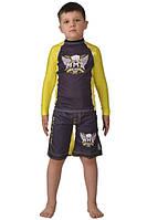 Компрессионный рашгард и шорты (с резинкой) ММА Berserk детские yellow