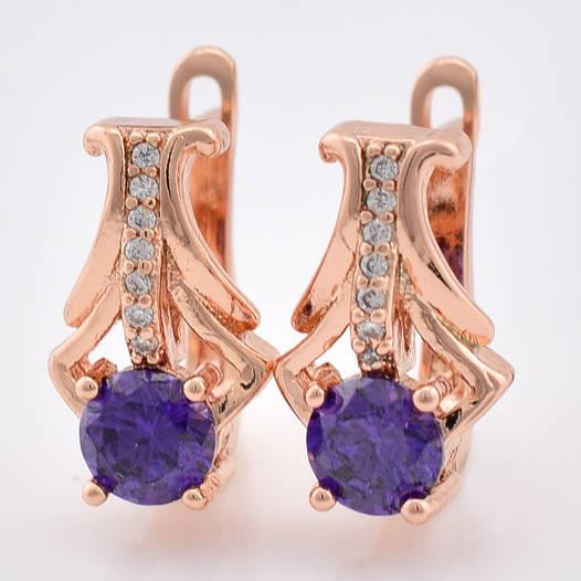 Серьги Диана 54537 размер 13*8 мм, фиолетовые камни, позолота РО