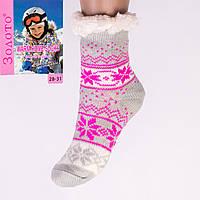 Тёплые детские домашние носки с тормозами Золото HD6009-1 28-31