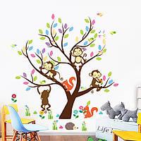"""Интерьерная наклейка """"Дерево с обезьянками и белочками"""""""