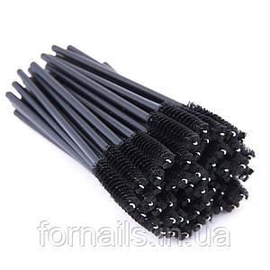 Щеточка для бровей и ресниц прямая, черная, 50 шт.