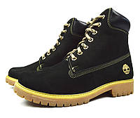 Черные зимние женские кожаные ботинки Timberland на меху ( шерсть ), фото 1