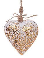 Елочное украшение Сердце 12см, цвет - мелованное золото