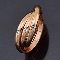 Кольцо 54626 размер 19, белые камни, позолота РО