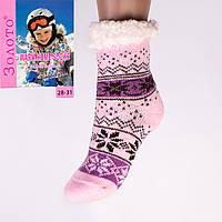 Тёплые детские домашние носки с тормозами Золото HD6009-2 28-31