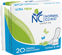 Normal Clinic Comfort ultra fresh Ежед. прокладки cotton&slim - в индив. упаковке, 150 мм.