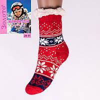 Тёплые детские домашние носки с тормозами Золото HD6009-3 28-31