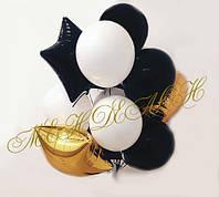 Черно-бело-золотые шары в наборе
