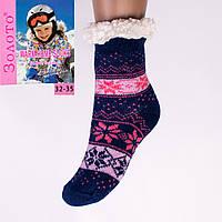 Тёплые детские домашние носки с тормозами Золото HD6009-5 32-35