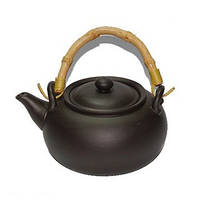 Чайник глиняный с бамбуковыми ручками «Чёрное золото» 950 мл