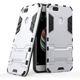 Чехол накладка для Xiaomi Mi A1 / Xiaomi Mi 5X противоударный силиконовый с пластиком, Alien, серебристый