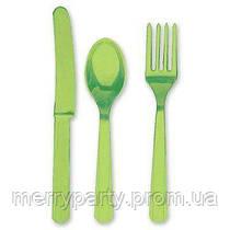 24 шт./уп. Набор столовых приборов светло - зеленый пласт.