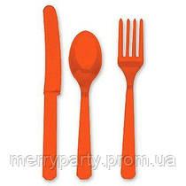 24 шт./уп. Набор столовых приборов оранжевый пласт.