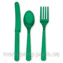 24 шт./уп. Набор столовых приборов зеленый пласт.