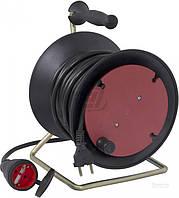 Удлинитель на катушке  E.next ПВС 2x2,5 5 кВт без заземления 1 гн. 20 м черный