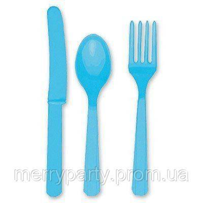 24 шт./уп. Набор столовых приборов голубой пласт.