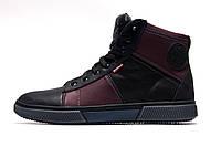 Зимние мужские ботинки Wrangler, черные с бордовым, натуральная кожа, р. 41 43