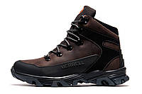 Зимние ботинки мужские Merrell, коричневые, натуральная кожа, р. 40 41