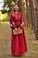 Дизайнерское вышитое платье в пол в украинском стиле (П24-266)