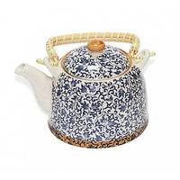 """Чайник керамический """"Голубой узор"""" с метал. ситом 600 мл"""