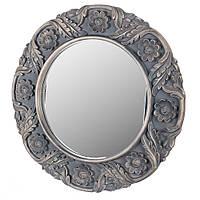"Настенное круглое зеркало ""Цветы"", темная рама с патиной, 68 см."