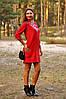 Авторское вышитое платье до колен красного цвета (П07/12-261)