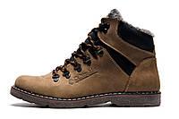 Зимние ботинки мужские Columbia, на меху, кожаные, оливковые, р. 40