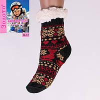 Тёплые детские домашние носки с тормозами Золото HD6007-1 28-31