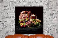 Натюрморт с овощами, мясом и пивом. 50х50 см. Фото на холсте.