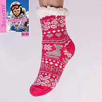 Тёплые детские домашние носки с тормозами Золото HD6007-2 32-35