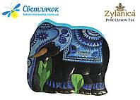 Чай черный и зеленый в жестяной банке Zylanica Синий Слон GP1+Super Pekoe  200г