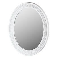"""Овальное зеркало в классическом стиле """"Рюш"""", белая рамка, 70см*57см."""