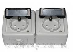 Двойная розетка с заземлением IP54 Luxel Debut серый