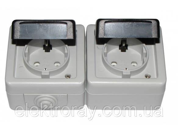 Двойная розетка с заземлением IP54 Luxel Debut серый, фото 2