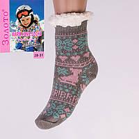 Тёплые детские домашние носки с тормозами Золото HD6007-5 28-31