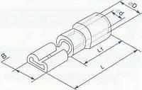 Коннектор плоский с частичной изоляцией, тип мама, ширина лопатки 6.3мм, для провода сечением от 1.5 до 2.5 квадрат мм (уп. 100шт)