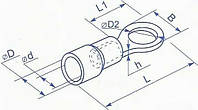 Наконечник под болт М8 в изоляции для провода сечением от 4 до 6 квадрат мм (ток до 45А, уп. 100шт)