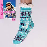 Тёплые детские домашние носки с тормозами Золото HD6007-6 28-31