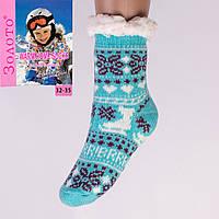 Тёплые детские домашние носки с тормозами Золото HD6007-6 32-35