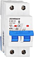 Автоматический выключатель Schrack 2P С 20А (6кА) AM617220--