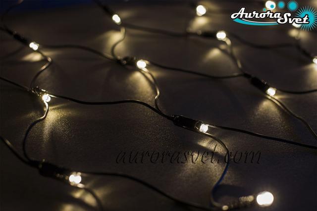 LED гирлянда от AuroraSvet сеть (телый белый) 2х1м